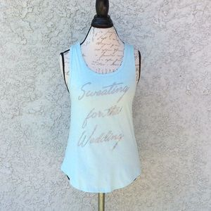 Sweating for the wedding 👰 blue glitter tank top